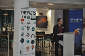 Adam Tolmie, Senior Employment Adviser from Shaw Trust speaks about his involvement in organising the Jobs Fair (Photo from Southampton Solent University)