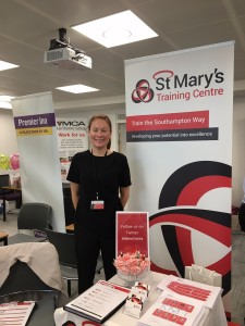 St. Mary's Training stall set up ready to meet people. Photo from St. Mary's Training