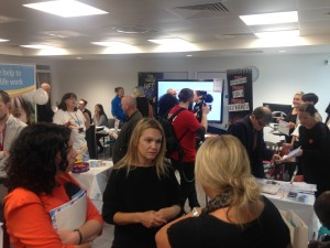 Busy inside one of the two exhibitor rooms. Photo by Totton College